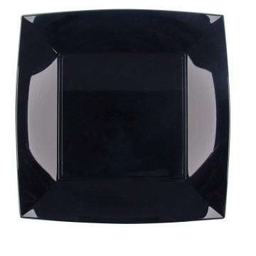 Disposable plastic black plates PP, 23x23 cm