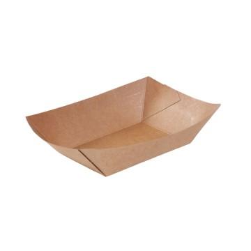 Eco paper food boat tray 400 g, brown kraft